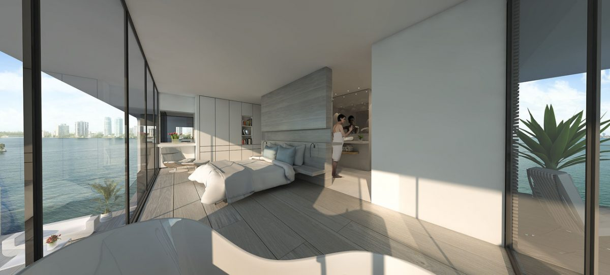 The residences provide 360-degree views of the water.